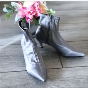 Topshop Bonbon Silver Ankle Booties